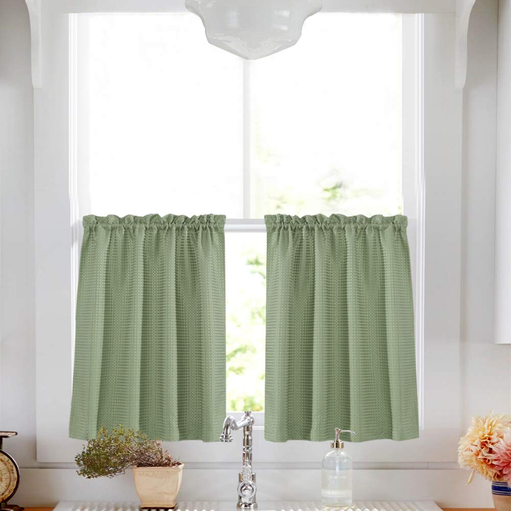 Olive Cafe Curtains Green Sage 36 inch Length Tiers Waffle Weave Textured Waterproof Kitchen Window Curtain Sets for Bathroom 2 Panels