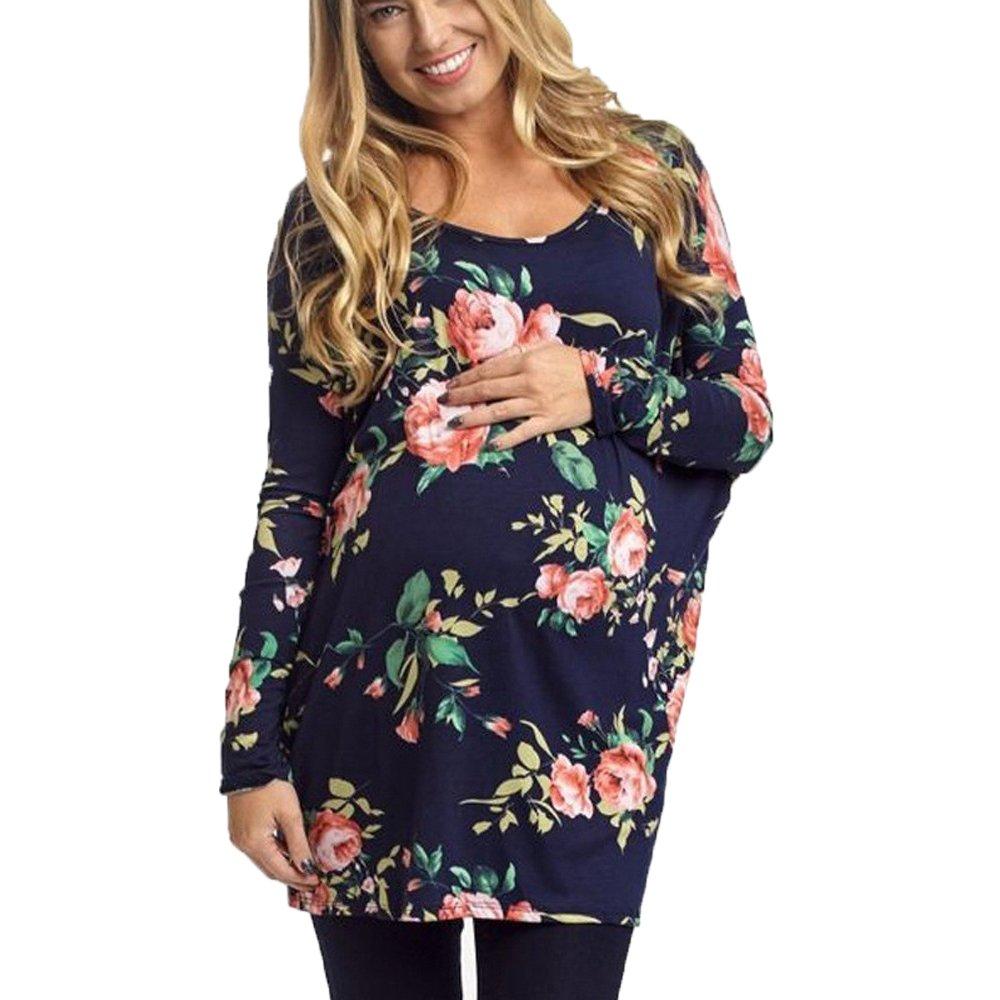 Topgrowth Camicia Donna Stampa Floreale Premaman Felpa Manica Lunga Camicetta per maternità Cotone Maglietta Lunga