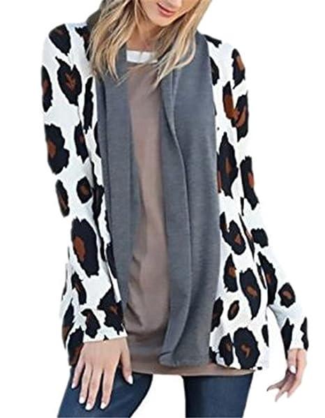 BESTHOO Abrigos Manga Larga Mujer Coat Irregular Cardigan Abrigos Costura Leopardo Outwear Joven Casual Tops Ligero Hipster: Amazon.es: Ropa y accesorios