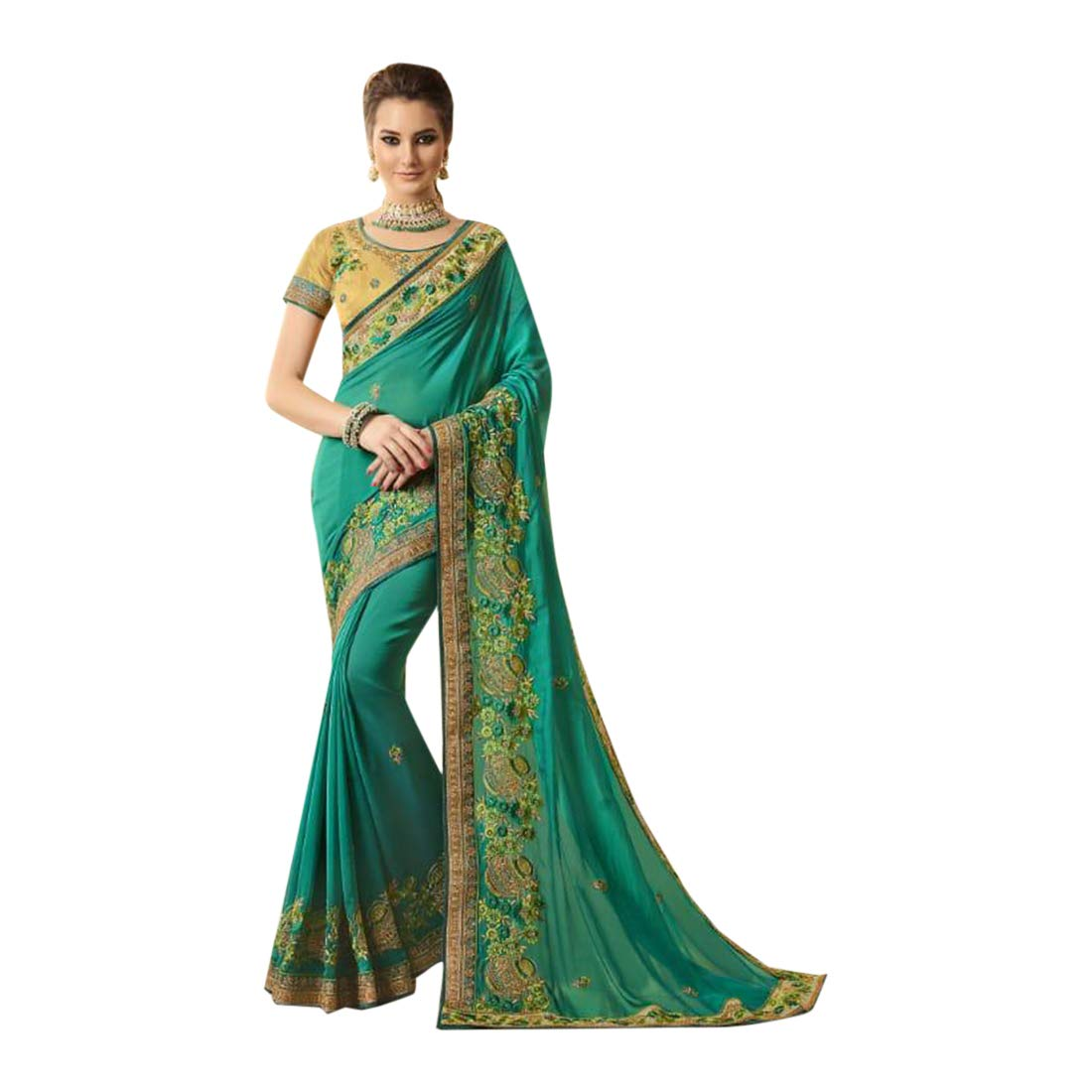Indian Ethnic Silk Embroidered Saree With Blouse Designer Collection Sari Party Wear 7174