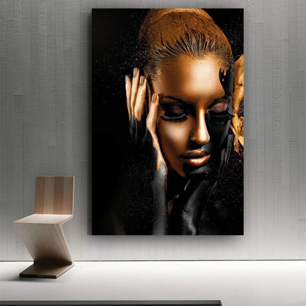 Tableau d/écoratif sur Toile Noir Or Femme Mod/èle Art Affiche Moderne Fille Art Toile Peinture pour La Maison Salon D/écoration Murale Peinture-40x60cm