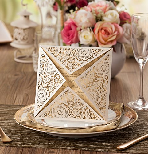 Wishmade 100X Square Laser Cut Wedding Invitations Kit With White Envelope and Envelope Seals Card Stock For Engagement Bridal Shower Birthday Baby Shower Party CW520_WH by Wishmade (Image #8)