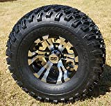 "10"" VAMPIRE Machined/Black Golf Cart Wheels and 22x11-10 All Terrain Golf Cart Tires - Set of 4"