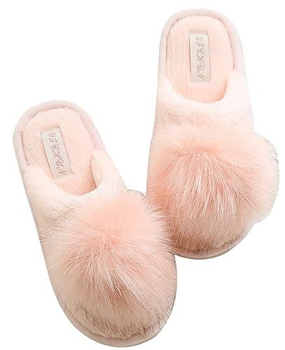 62863b7e464 FreLO Women s Pink Plush Pom-pom Fuzzy Slippers Fluffy Slippers (7 ...