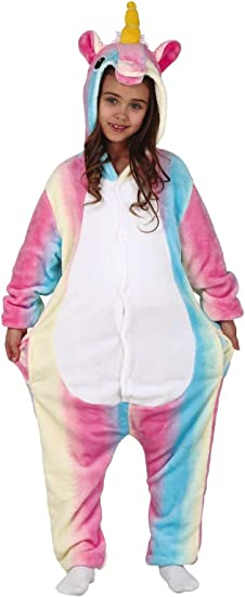 FIESTAS GUIRCA Rainbow Baby Girl Unicorn Pijama Disfraz Kigurumi Cosplay tutone