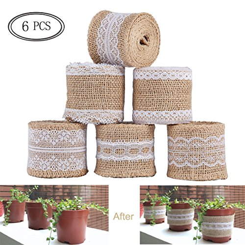 SS SHOVAN Burlap Ribbon Roll White Lace Trims Natural Jute Fabric Ribbons for DIY Projects Gift Wrapping Christmas Decorations