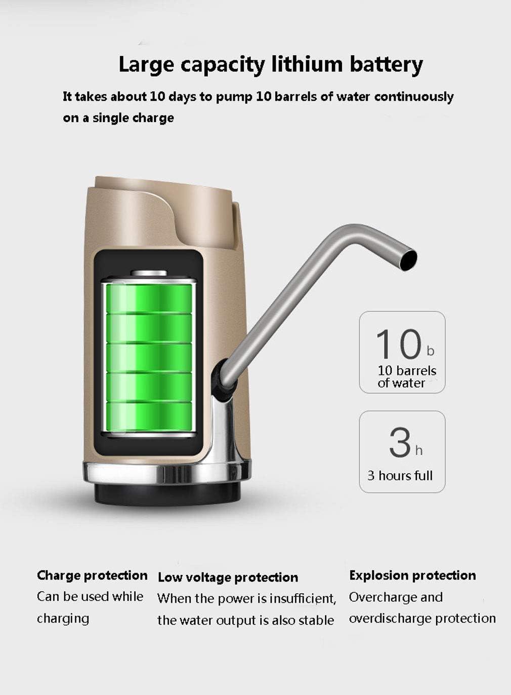 UYICTT Erogatore USB Pompa Borraccia Ricaricabile Dispenser Acqua priva di BPA Portatile Staccabile Bottiglia Acqua for boccioni universali GAGGE (Color : Black) Black