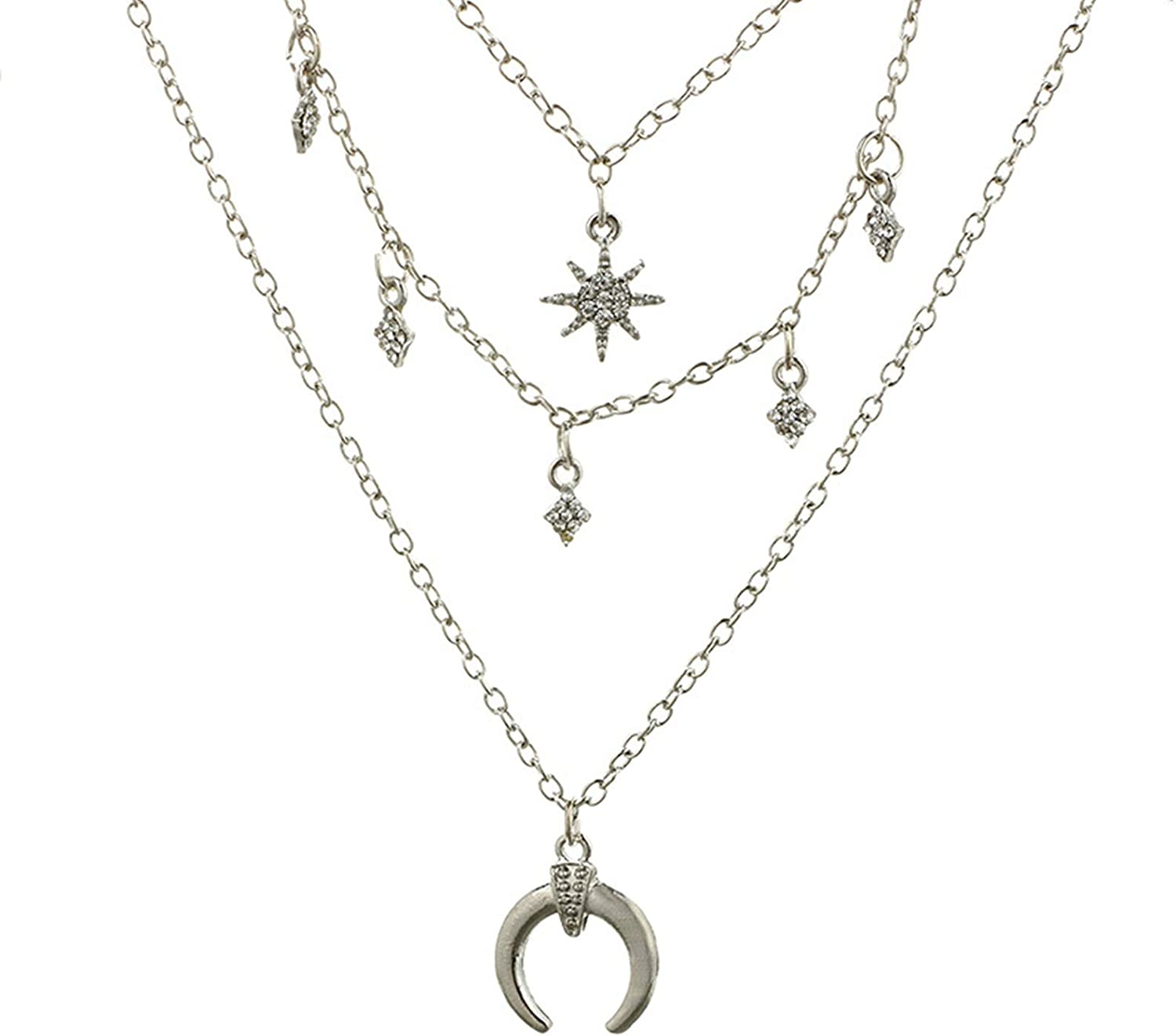 AMDXD Jewelry Silver Plated Womens Necklace Fashion Geometric Pendant Necklace