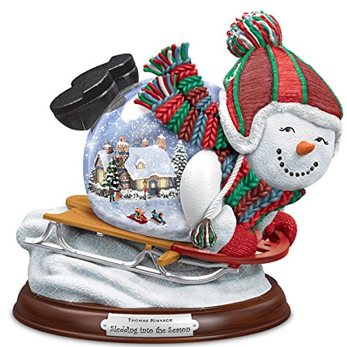 Thomas Kinkade Village Inside A Sledding Snowman Snowglobe