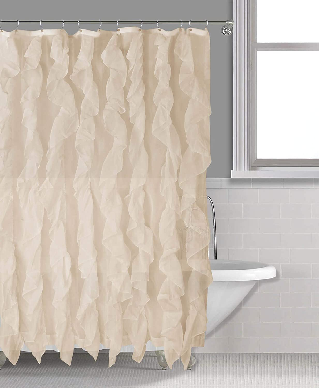 Sapphire Home Cascade Shower Curtain, Fabric Ruffle Shower Curtain, 70