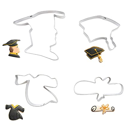 Amazon.com: 2018 Graduation Cookie Cutters | Mini Grad Cap, Gown ...