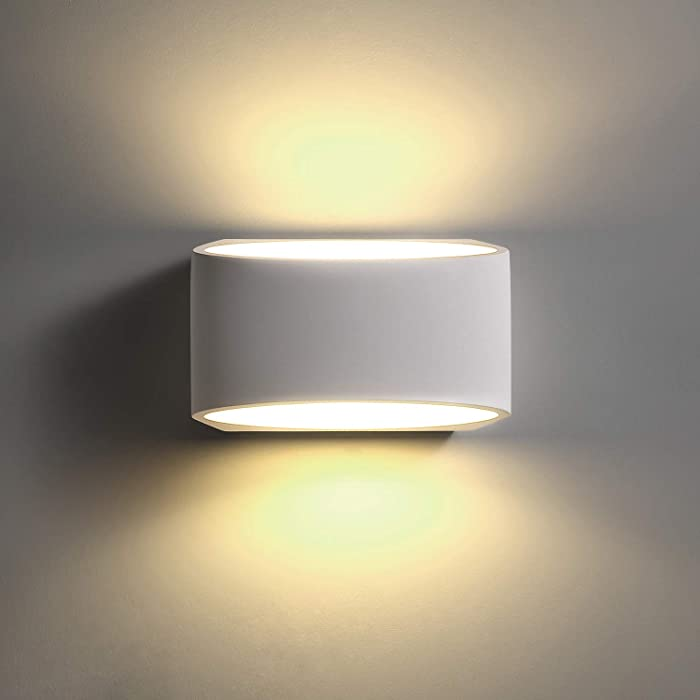 TRLIFE LED Wall Sconces, 9W 3000K Warm White Wall Sconce Lighting Plaster Modern Wall Sconce for Staircase Bedroom Living Room Hallway Porch Office Hotel (with 9W G9 LED Bulb)-01