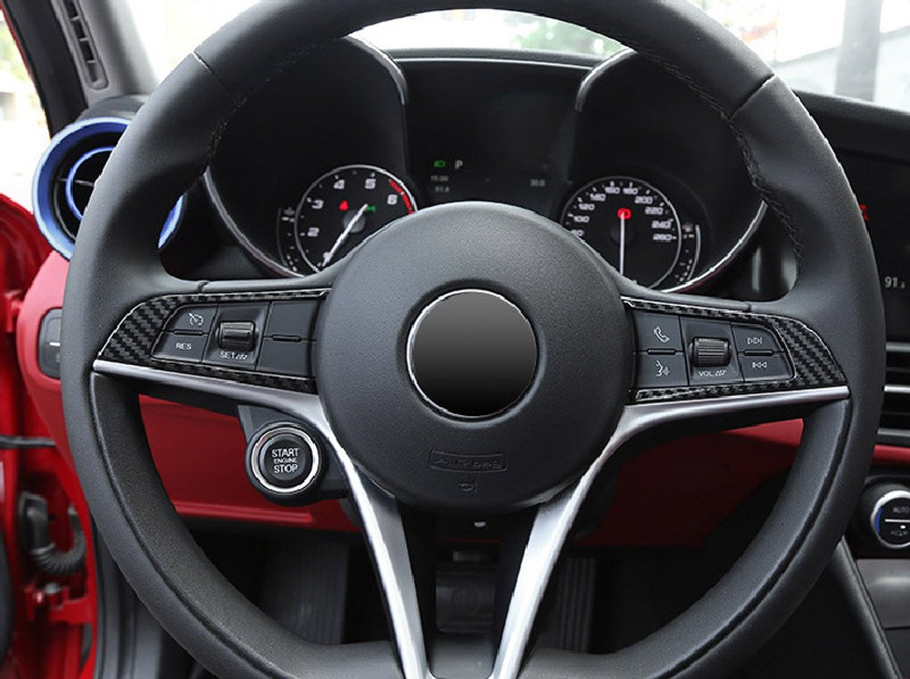 2 x Carbon Fiber Style ABS Plastic Steering Wheel Decoration Frame Trim For Giulia Stelvio