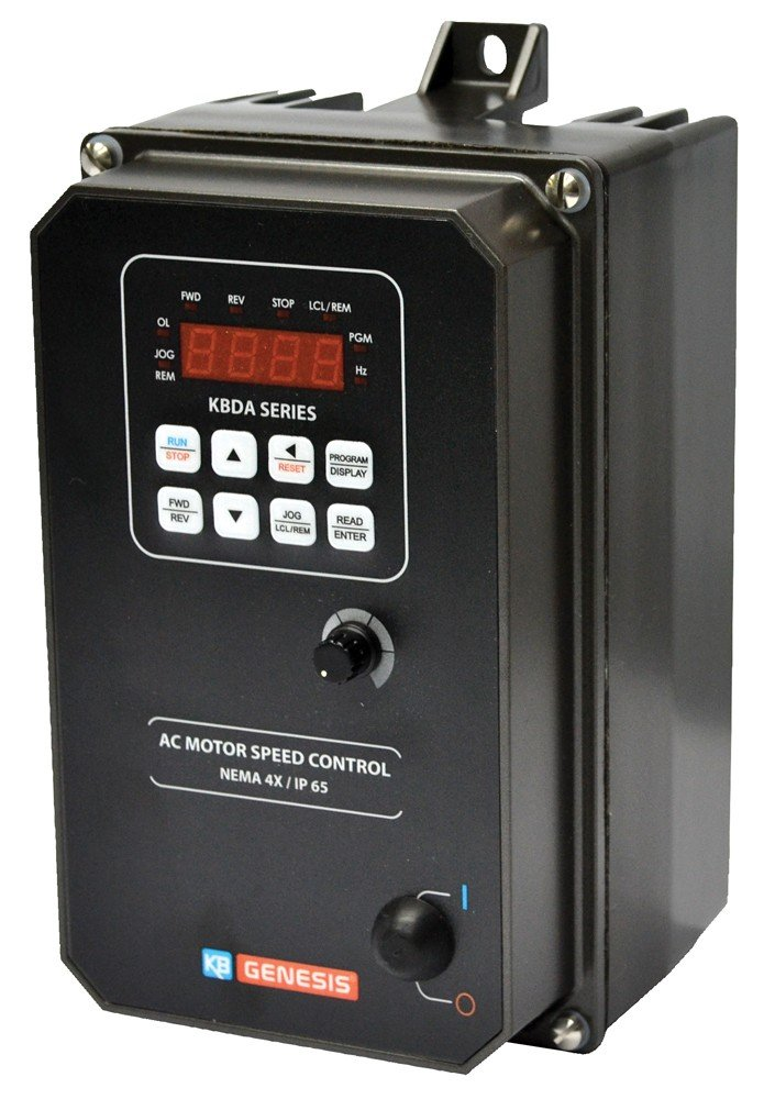KB Electronics, 9536, KBDA-24D (Gray), 1HP, 1-Phase, 110-120V;200-240V (Input), Nema 4X Enclosure, Variable Frequency Drives