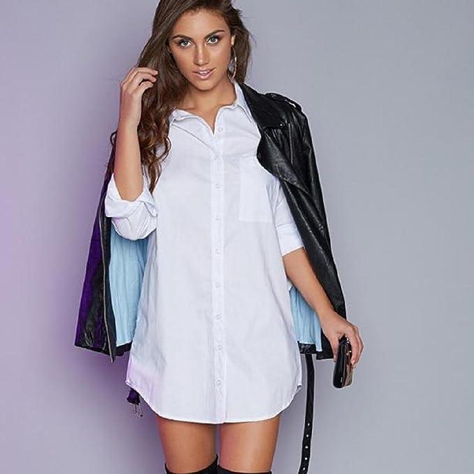 7e4c86f8e6ce Sunward(TM) Feminine Fashion Shirt Sexy Long Sleeve Straight Office Dresses  (Small, White) at Amazon Women's Clothing store: