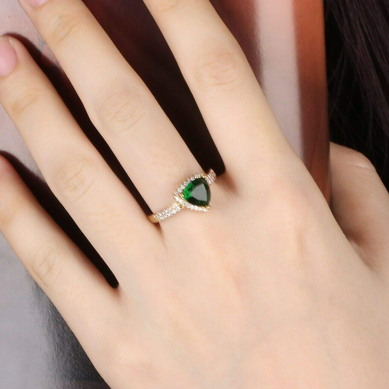 Patcharapa Jewelry Women Trilliant Cut Green Emerald Crystal Gemstone 18K Gold Platinum Filled Ring 10