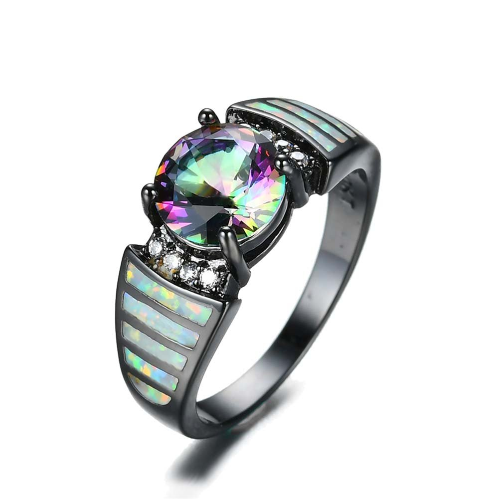 TFR Jewel White Fire Opal Round Ring Fashion Jewelry for Women Wedding Engagement Rings