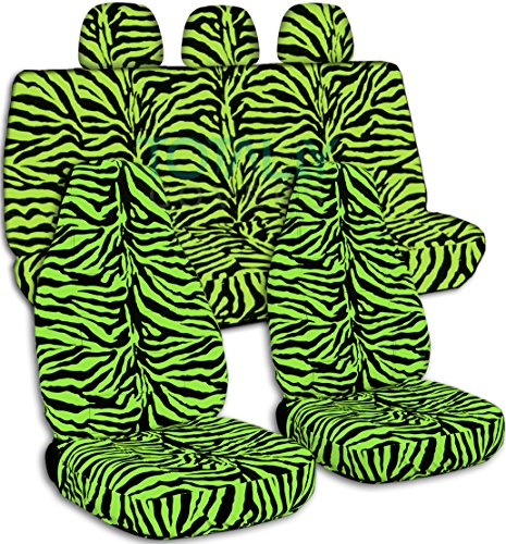 (Animal Print Car Seat Covers w 3 Rear Headrest Covers: Lime Green Zebra - Universal Fit - Full Set - Front Buckets & Rear Bench - Option for Airbag/Seat Belt/Armrest/Release/Lever/Split Compatible)