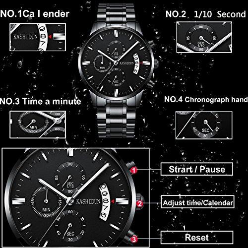 Mens Stainless Steel Watches Men Chronograph Waterproof Sport Date Quartz Wristwatch Classic Watch Black Color by KASHIDUN (Image #5)