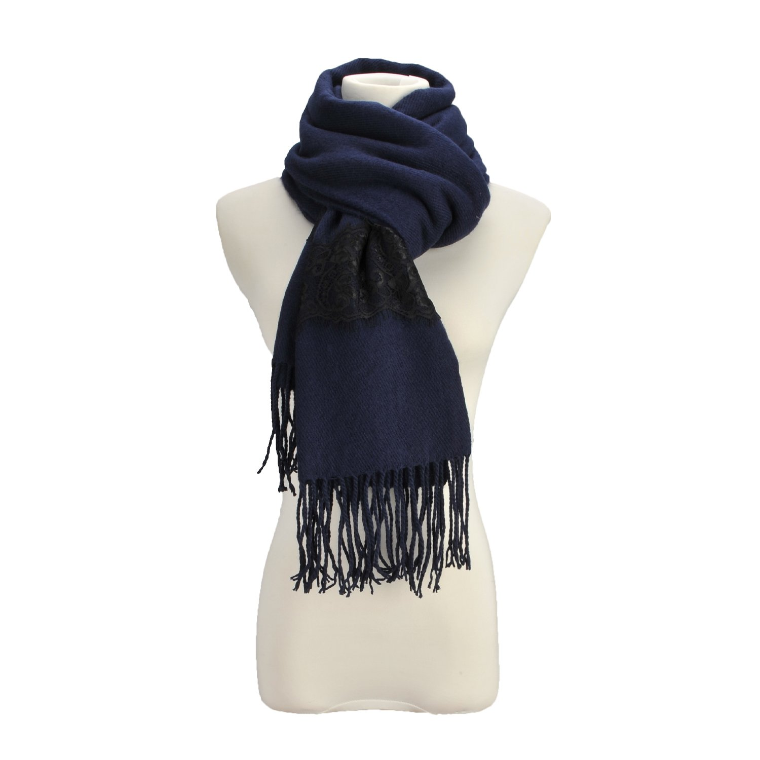 Street Style Large Scarf Loop Wide Cover Up Fringe Top Neckerchief Cold Weather