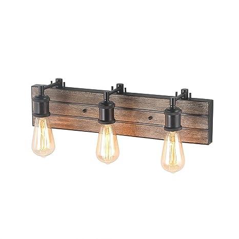 LOG BARN 3 Light Bathroom Wall Lamps Wood Wall Sconces Bronze Indoor Wall  Lights Vanity
