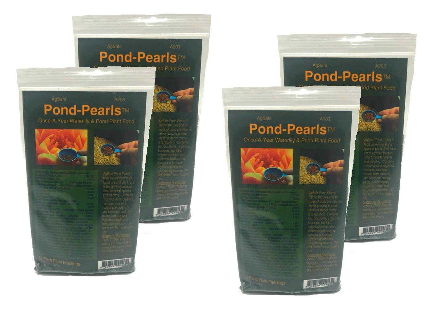 AgSafe AgriTab Pond Pearls Once A Year Aquatic Plant Food Fertilizer for Flowering, Growth and Strong Rooting (4 Packs/32 oz)