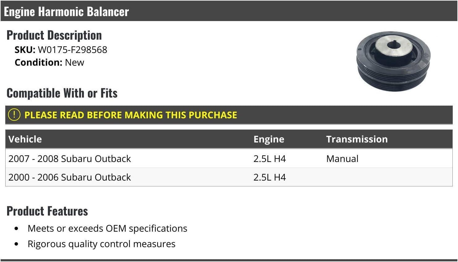 Engine Harmonic Balancer Compatible with 2000-2008 Subaru Outback 2.5L 4-Cylinder