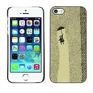 X-ray Impreso colorido protector duro espalda Funda piel de Shell para Apple iPhone 5 / iPhone 5S - Rain Cute Drawing Kids Deep