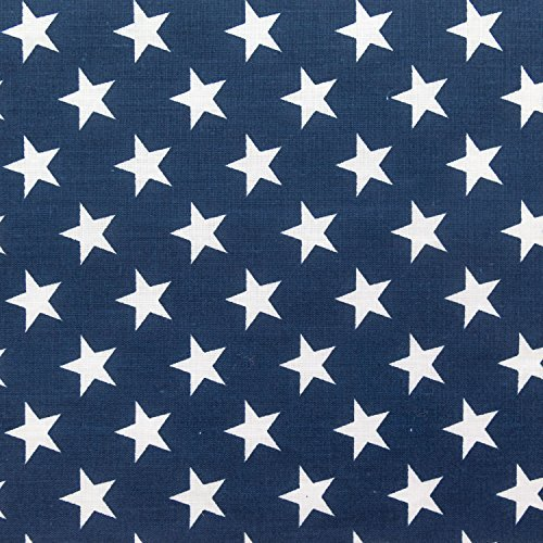 Stars on Navy Poly Cotton 60 Inch Fabric By the Yard (F.E.) -