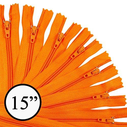 KGS 15 inch Nylon Zipper Zipper | 12 Zippers/Pack (Orange)