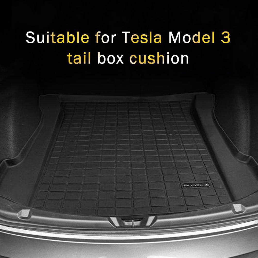 DokFin Tapis de Coffre pour Tesla Model 3 2017 2018 2019 Caoutchouc Noir Front Trunk Mat Tapis de Protection Coffre Duster arri/ère de Voiture Lourd Tous Les Temps