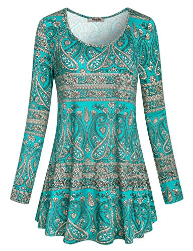 - Hibelle Petite Tunics, Womens Trapeze Tops Crewneck Long Sleeve Paisley Casual Wear Flowy A-line Flared Hemline Swing Blouse Fall Green XL ST Patricks Day Shirt