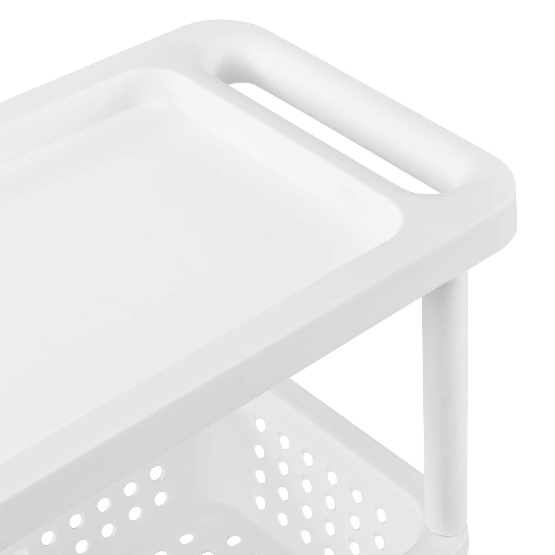 Blanc PP en.CASA Meuble de Rangement /à roulettes Chariot Roulant Tour de Rangement 72 x 12 x 54,5 cm Polypropyl/éne