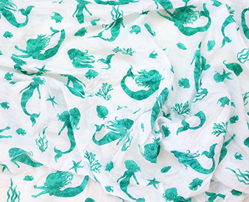 100% Organic Muslin Swaddle Blanket by ADDISON BELLE - Oversized 47 inches x 47 inches - Best Baby Shower Gift - Premium Receiving Blanket (Mermaid Print)