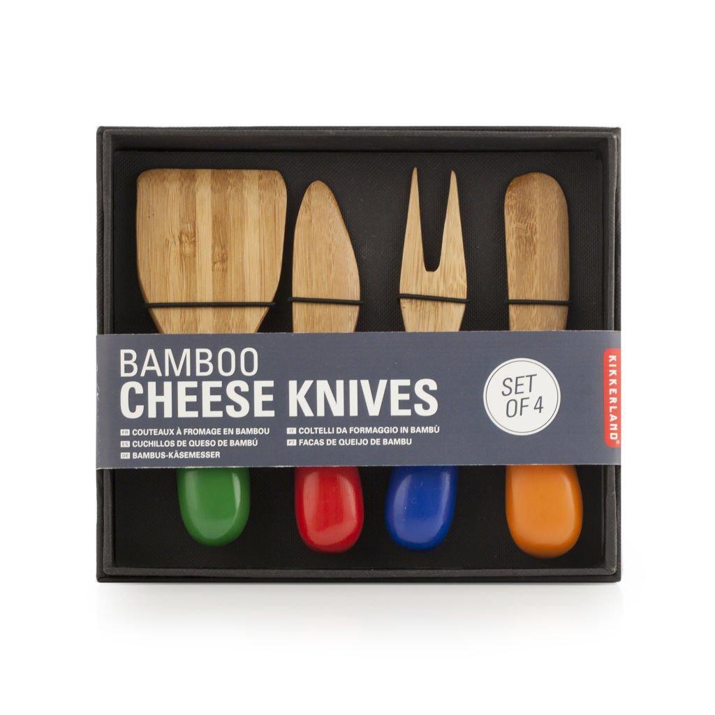 Kikkerland CU236 Bamboo Set Cheese Knives (Set of 4), Multicolored