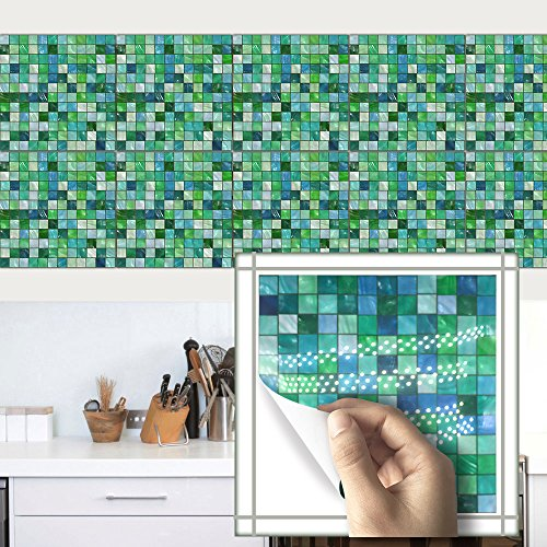 - HyFanStr 8x8 Inches Mosaic Sticker Tile Backsplash Tile Stickers Kitchen Wall Decal (10 Pack, Green)