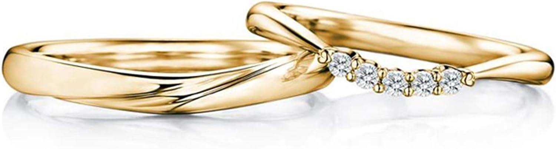 Epinki Anillo Or 18k Retorcido Onda Modelo Diamante 0.10ct Aniversario Compromiso Anillo de la Boda
