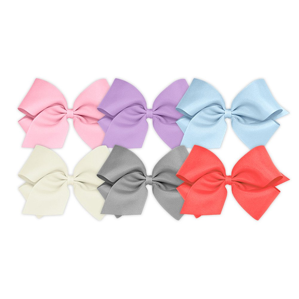 Wee Ones Girls' King Bow 6 pc Set Solid Grosgrain Variety Pack on a WeeStay Clip - Pearl Pink, Light Orchid, Millennium Blue, Antique White, Gray and Watermelon