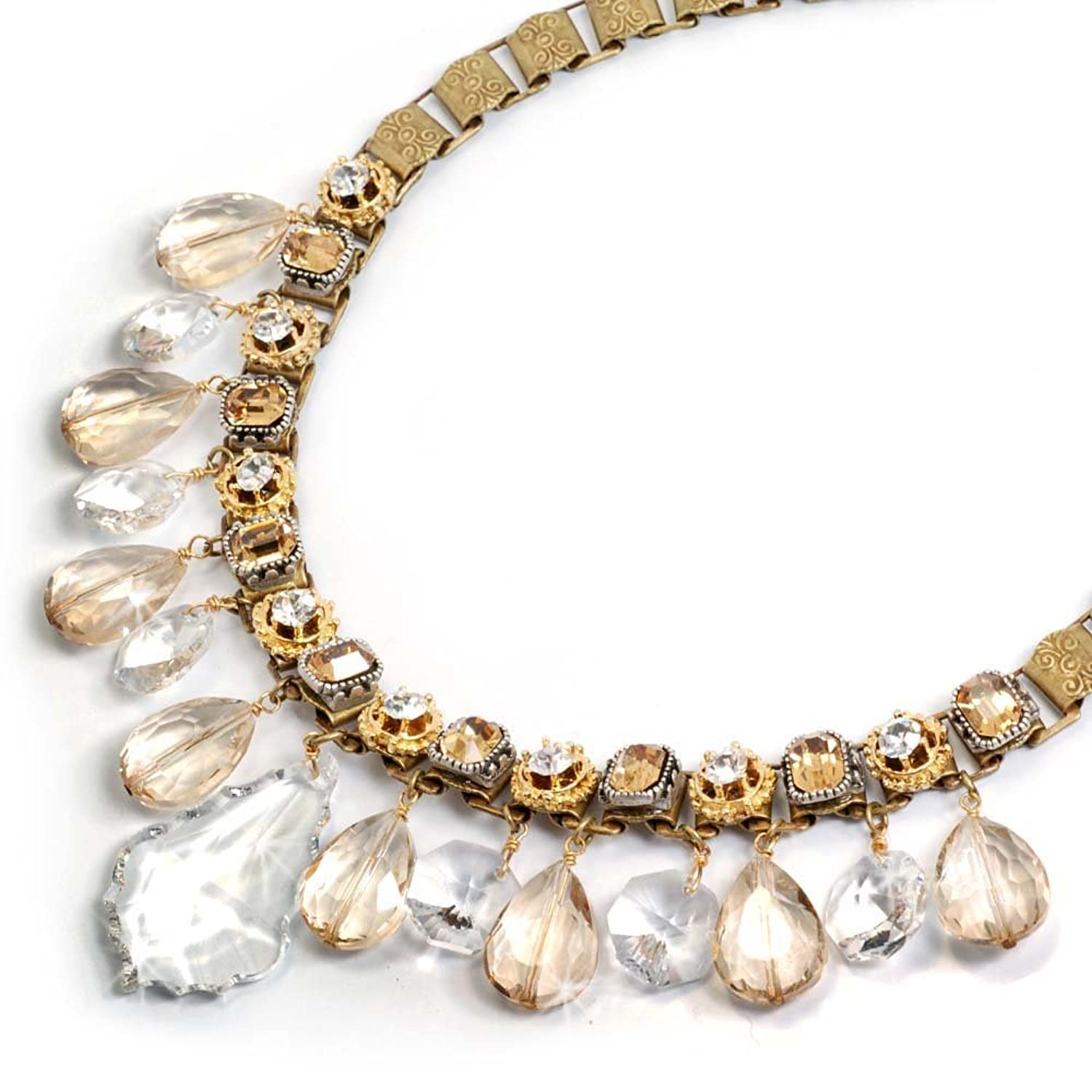1950s Costume Jewelry Champagne On Ice Collar Necklace $115.00 AT vintagedancer.com