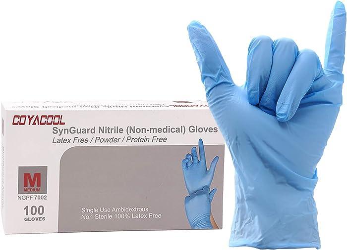 Coyacool Disposable Nitrile Gloves, Powder Free, Food Grade Gloves, Latex Free, 100 Pc. Dispenser Pack, Medium, Blue