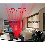 BB67 Alarm Clock Multifunctional Digital LCD Voice Talking LED Projection Temperature for kids adults