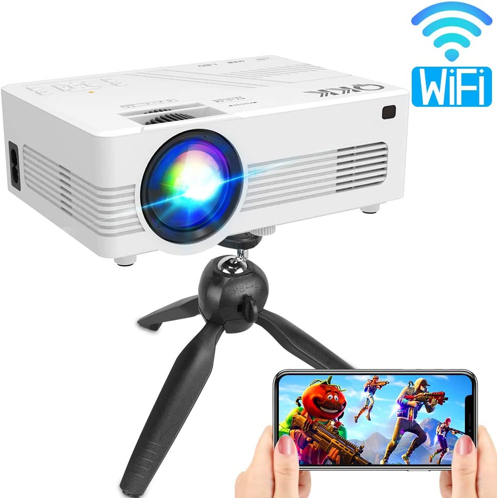 QKK Upgraded WiFi Projector for Halloween Decor, Full HD 1080P Supported Mini Projector [Tripod Included], Synchronize Smartphone Screen by WiFi/USB Cable, HDMI/AV/USB/TF/Sound Bar/TV Stick Supported