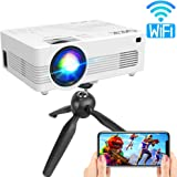 QKK Upgraded 4500Lumens WiFi Projector, Full HD 1080P Supported Mini Projector [Tripod Included], Synchronize Smartphone Screen by WiFi/USB Cable, Phone/HDMI/AV/USB/TF/Sound Bar/TV Stick Supported
