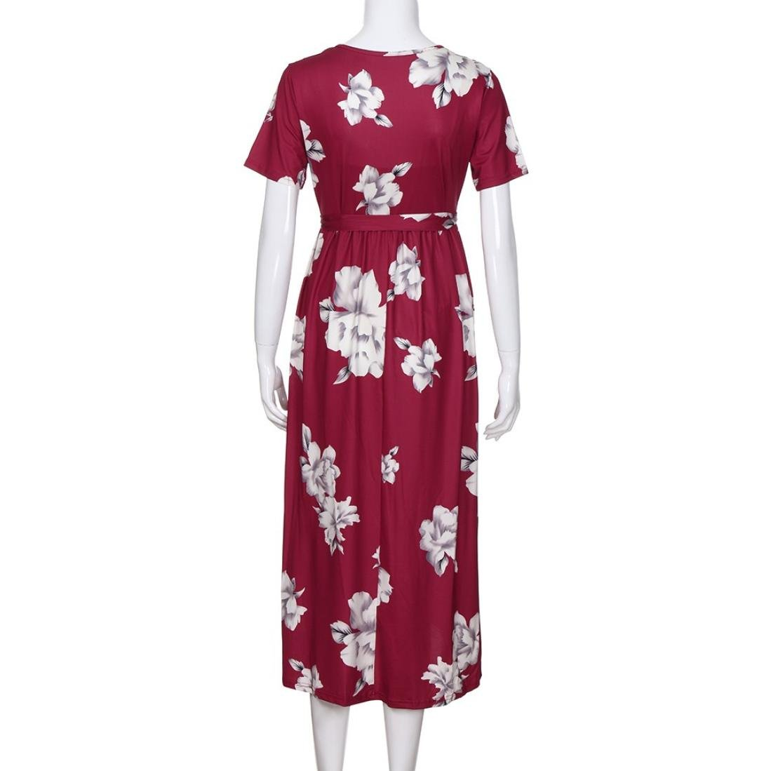 5ea2766f77fff Amazon.com : Women's Vintage Print V Neck Knee Length Short Sleeve Ruched  Midi Maternity Dress with Adjustable Belt (L, Wine) : Beauty