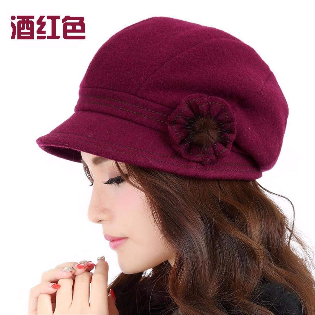 GHANDG Beach Hat Winter Thick Warm Winter and Autumn Cap Beret Female Leisure Cap Summer Sun Hat (Color : The Red, Size : L (58-60CM))