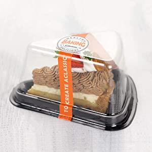 50Pcs Cheesecake Pie Container, Cake Slice Container 5 inch x 3 1/2 inch x 2 1/2 inch (black)