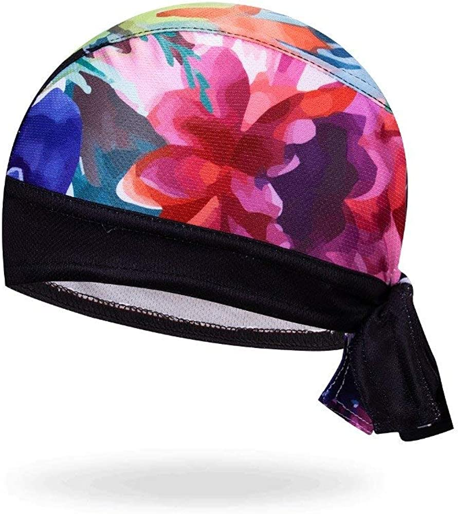 Pastel Flowers on Black Moisture Wicking Micro Fiber Dry Fit Head Wrap Biker Hat Durag Skull Cap Stretch