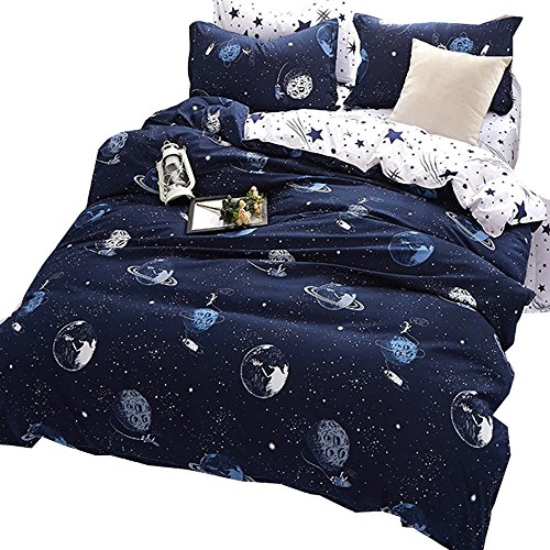 HyUkoa Star Outer Space Satellites Boys Comforter Set, Blue/White, Rocket Star Bedding Collection 100% Polyester 4-Piece Glow in the Dark Kids Comforter Set, Twin Size