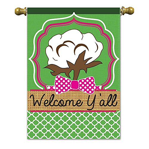 Welcome Yall Southern Cotton Field 42 x 29 Rectangular Burlap Double Applique Large House Flag Review