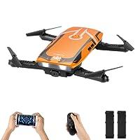 Mini drone pieghevole con telecamera Wifi FPV Live Video, una chiave di ritorno/Altitude Hold/modalità Headless/2.4G 4 canali 6 assi Sensore di gravità RC Selfie Quadcopter con due battles